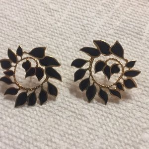Black Enamel Leaf Pierced Earrings